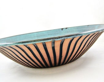 Large stoneware serving bowl, teal blue with black stripes design, 9th anniversary gift - In stock SB052I