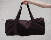 SALE - Dark Brown Corduroy Duffle Bag (floral lining)