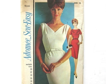 1960s Slim Fit Dress / Vintage Sewing Pattern / Advance 3312 / Wiggle Dress / Size 10 UNCUT FF