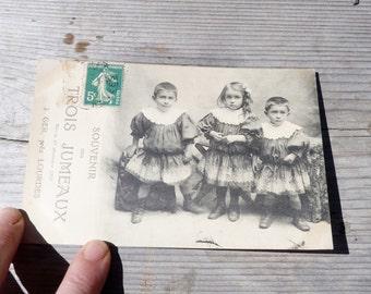 Vintage Antique 1900 French real photography postcard  Les 3 jumeaux souvenir/triplets