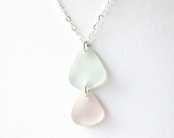 """Double Drop Sea Glass Pendant with Sea Foam Green and Rare Purple Glass on 18"""" Sterling Silver Chain"""
