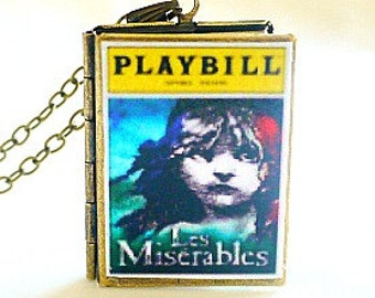 Les Miserables, Victor Hugo, Playbill Locket Necklace, 19th Century France, French Revolution, Cosette French Flag, Tony Award Best Musical