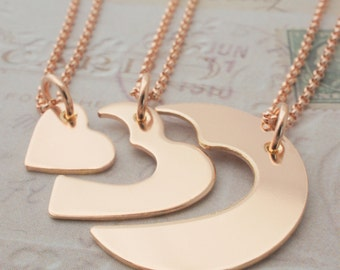 Rose Gold Filled Three Generation Necklace Set by EWDjewelry - Grandmother, Mother, Daughter Jewelry in Pink GF