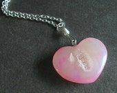 Druzy Heart Necklace, Pink Geode Pendant, Agate Stone Jewelry