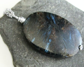 Astrophyllite Pendant, Metallic Blue Stone Jewelry, Unusual Necklace