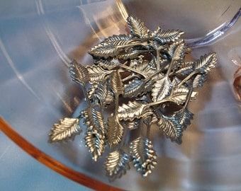 25 Silver-Plated Small Foldover Double Leaf Bails 26mm Vintage Glue On for Pendants, New Old Stock
