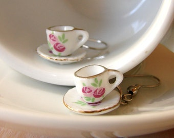 Miniature Teacup Earrings - Mini Tea Cup Earrings - Miniature Teacup Jewelry - Tiny Floral Tea Cup - Miniature Porcelain Mugs - Tea Jewelry