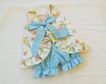 Ruffled Bow Back Swing Back Pinafore Top Bloomers Set baby or toddler - 3 mos to 4T - Dena Designs Leanika Lovebirds blue polka dot