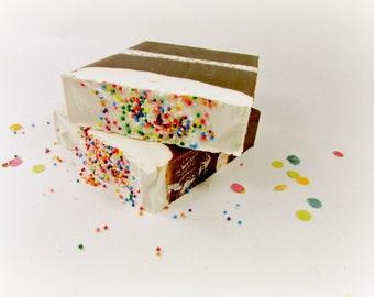 Birthday Cake Cold Process Soap, Handmade Soap, Bar Soap, Phthalate Free, Palm Oil Free, Vanilla Cake, Buttercream Icing, Birthday Gift
