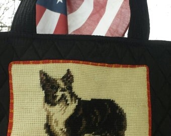 French Bulldog  needlepoint quilted handbag purse