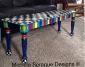 Painted Farmhouse Bench//Whimsical painted bench//Alice in wonderland Checks custom whimsical painted furniture
