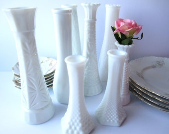 Vintage Milk Glass Bud Vase Collection of Eight Brody Hobnail Weddings