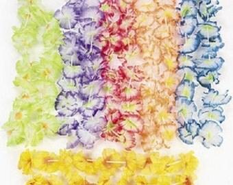 24 Hawaiian Luau Jumbo Silk Flower Leis Tropical Party Craft Supplies