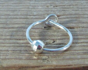 Hoop Earrings Silver Silver Diamond Cut Bead SINGLE - Tragus Jewelry, Rook Jewelry, Daith Jewelry, Helix Jewelry, Cartilage Jewelry