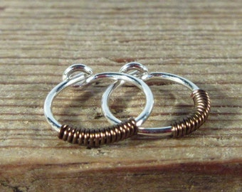 Hoop Earrings Silver Gunmetal Wrap - Mens Hoop Earrings, Tiny Hoop Earrings, Small Hoop Earrings, Wrapped Hoop Earrings, Modern Earrings