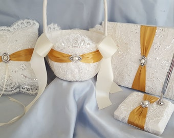 Beaded Elegant Bridal Lace Ivory and Gold Pearl Wedding Ring Bearer Pillow Flower Girl Basket Guest Book Pen Stand