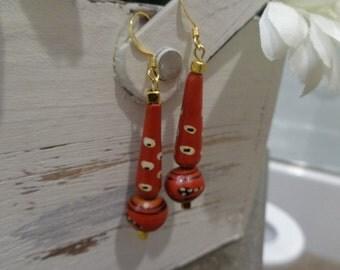 Orange and black ethnic earrings