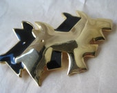 Scottie Dog Black Gold Brooch Vintage Pin Terrier Modern Mod
