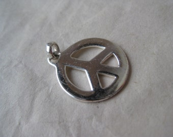 Peace Sign Sterling Charm Pendant Silver Vintage 925