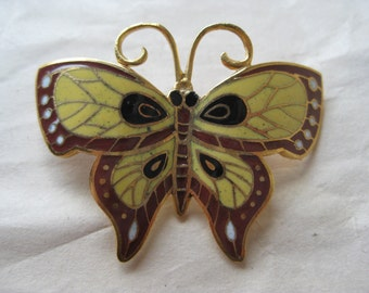 Butterfly Black Red Yellow Brooch Gold Enamel Vintage Pin Cloisonné Pendant