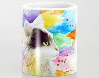 Coffee Mug Cup Art Mugs black Cat 605 tuxedo 11oz or 15oz art painting by L.Dumas