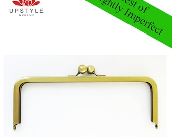 "SAVE 50% Private Stash - BEST of Slightly Imperfect Clutch Purse Frames - Set of 10 Frames 8"" x 3"" Antique Gold"