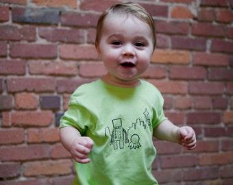 Toddler Shirt, Seattle Robot T-Shirt, Size 2T - 4T, Lime Green, Unisex