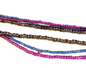 "3 Strands of  Seed Beads, Fuchsia Blue Luster Brown,  2-4mm, 14-16"" Strands, Jewelry Supplies FB3"