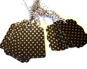 15 Gift Tags, Gold Fleur De Lis and Brown, 2 Sizes, Hang Tags, Party Favor Tags