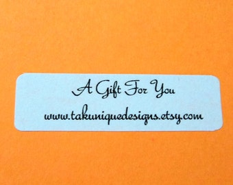 """80 White Small Retangle Labels Stickers, 1.75"""" x 0.5"""", A Gift For You, Thank You, Packaging Supplies"""