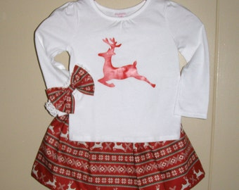 Christmas Skirt  Reindeer  Christmas Top with matching Headband  top and skirt SIZE 3t ready   to ship