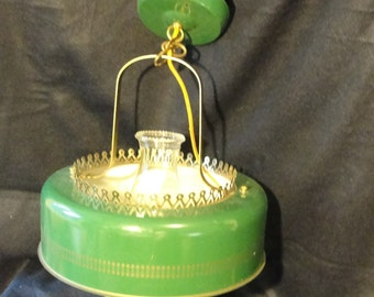 Vintage green farmhouse ceiling light fixture in amazing condition