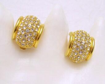 Vintage Swarovski Rhinestone Hoop Earrings Clip On Jewelry E6964