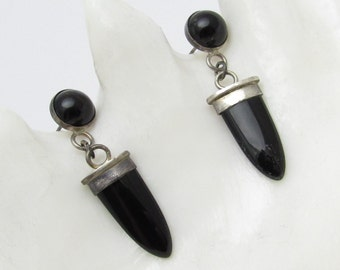 Long Sterling Earrings Black Onyx Vintage Jewelry E7154