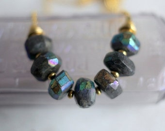 October Sale Labradorite Necklace, Mystic Iridescent, Chunky Boho Gemstone Necklace, Gold Chain, Faceted Gray Gemstone