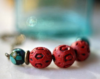 Red Cinnabar Necklace, Asian Inspired, Turquoise Blue Choker