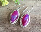 Pink Rainbow moonstone earrings - Bezel earrings - Dangle earrings - Gemstone earrings - pink earrings- Jewelry gift ideas