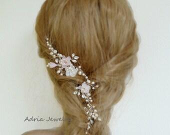 Pink Flower Hair Vine Bridal Hair vines  Blush Pink Wedding Hair Vine Bridal Hair Accessory Wedding Head Piece Gold Hair Vines