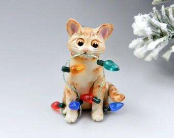 Orange Tabby Cat Christmas Ornament Figurine Lights Porcelain