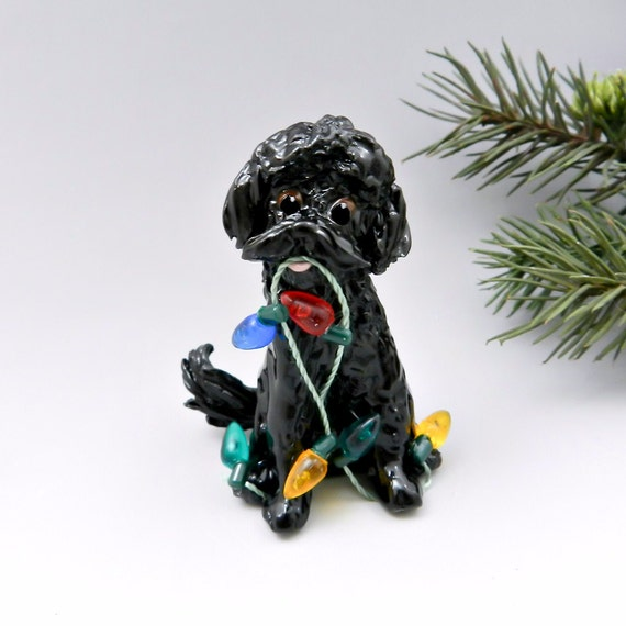 String Lights Doodle : Labra Doodle Golden Doodle Black Christmas by TheMagicSleigh