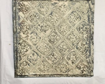 AUTHENTIC Tin Ceiling Piece Tile Sage Panel 2x2 Arts and Crafts  RECLAIMED 350-16