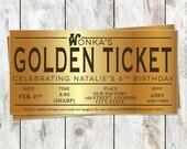 Willy Wonka Birthday Golden Ticket Birthday Invitation - Willy Wonka Birthday Party - Golden Ticket Foil Invitation