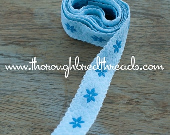 Daisy Blues - 2 yard Vintage Fabric Embroidered Trim Juvenile 60s 70s New Old Stock Doll Making