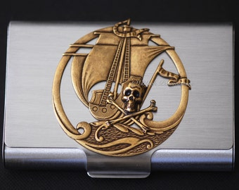 Black Pearl Stainless Steel Business Card Case - Skull Crossbones Pirate Made in USA Brass Stampings - Insurance Included