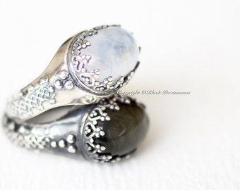 LAST One - Hertha Rainbow Moonstone Ring - Oval Genuine Auspicious Feng Shui Intelligence Symbol Gemstone - Solid 925 -  Insurance Included