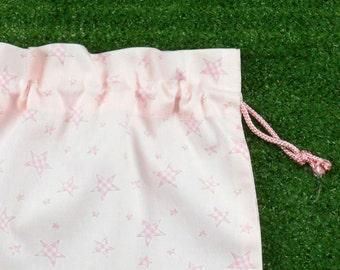 Small drawstring bag, light pink stars, small cotton treasure bag
