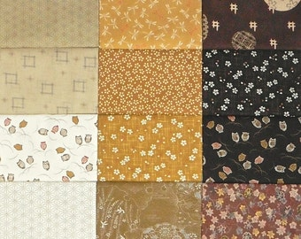 Japanese cotton prints - 18 cream to brown fat quarters