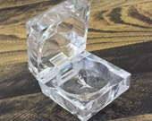 Clear Acrylic Faux Crystal Ring Box / Jewelry Box / Ring Holder with Hinge