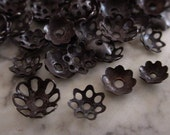 50pc Genuine Vintage Brass Filigree Bead Caps 5mm 6mm 8mm 10mm Lightweight Hand Oxidized Dark Bronze Brown Black Natural Patina Mixed Lot 2M