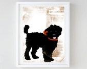 Black Labradoodle Dog -  Fine art print, wall decor, illustration, black dog, Labradoodle Dogs, Gift for dog lovers